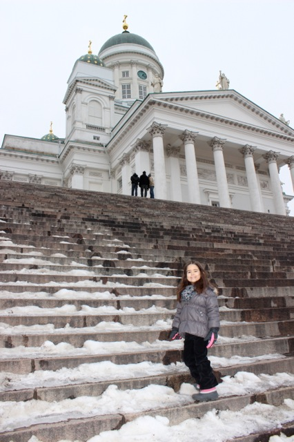 Mia in front of the beautiful Helsinki Cathedral.