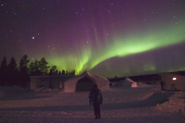 It looks like the ice the northern lights are coming right out of the Snow Chapel!