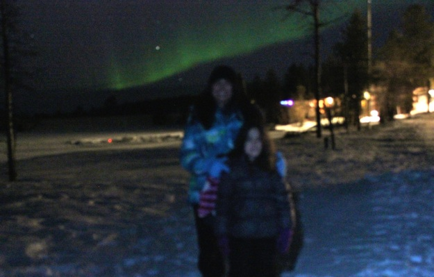 This is the only shot with Mia in it before she fell asleep on a sled at midnight all bundled up in blankets!  She said she sleep so good on that sled under the stars!
