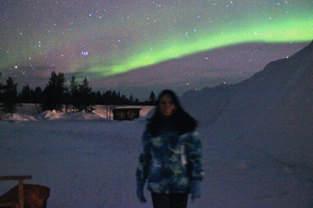 This shows one half of the beautiful arch from the northern lights.