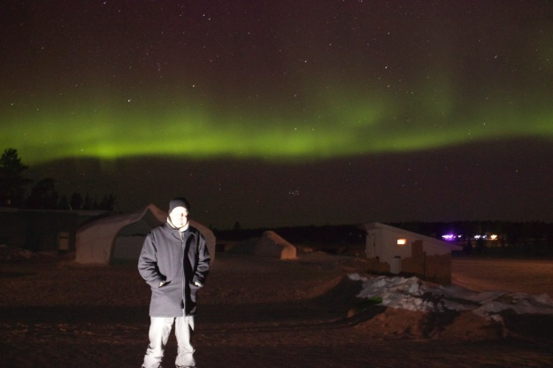 Danny in front of the beautiful northern lights.
