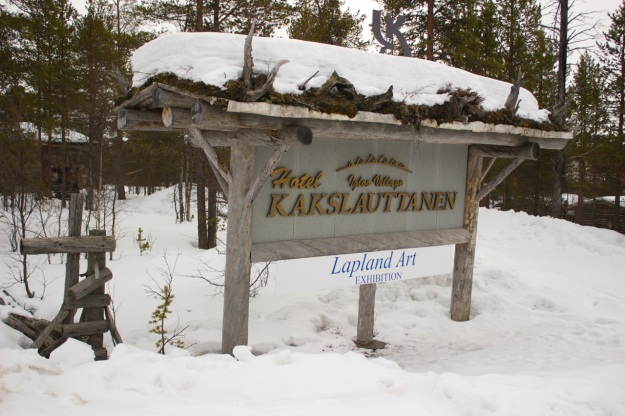 Kakslauttanen Hotel & Igloo Village entrance sign.