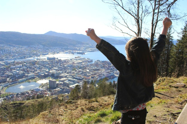 This is Mia who went into this pose when we made it to the top of Mount Floyen in Bergen, Norway.