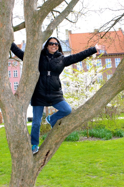 This is me climbing a tree in Copenhagen, Denmark at the Rosenborg Castle Royal Garden.