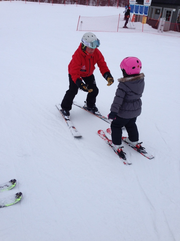 This is Mia with our ski instructor Leen, learning how to stop.
