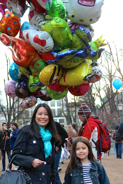 Mia and I with one of the many balloon vendors on the streets.  We felt like we were back at home on Main St. at the Magic kingdom! :)