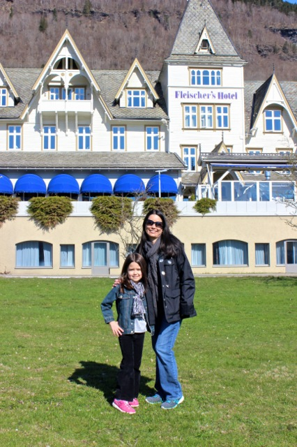 Mia and I in front of the Fleishman's Hotel where we stayed for one evening after our fjord cruise.