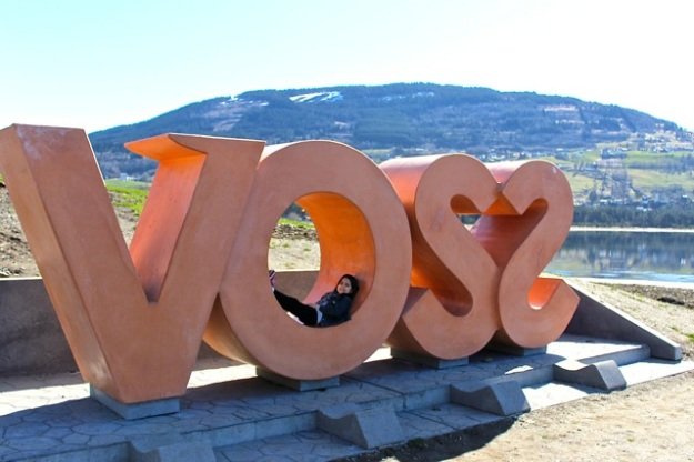 Mia had fun playing on this cool Voss sign.  Voss bottled water comes from this small town in Norway!