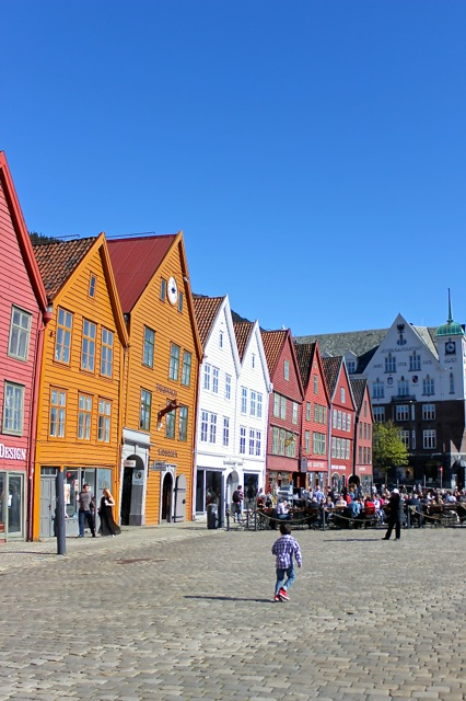 Street scene in beautiful Bergen, Norway!