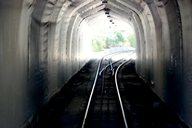 Tracks and tunnel on the Fløibanen Funicular ride.
