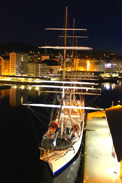 A beautiful ship at night in Bergen.