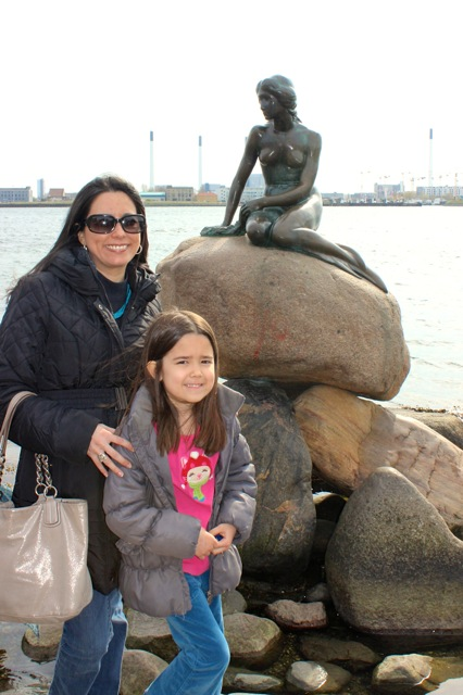 Mia and I in front of The Little Mermaid sculpture.