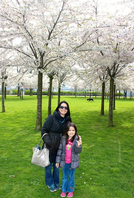 Mia and I in front of an amazing group of Cherry Blossom Trees.