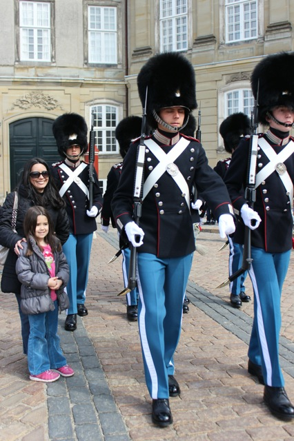 Mia and I next to the Amalienborg Palace Guards.
