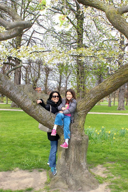 Mia and I having fun on the amazing cherry blossom tree at the King's Gardens.