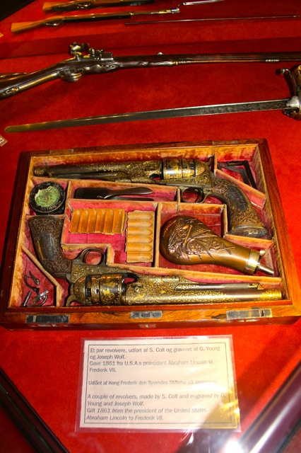 On display at the castle, these amazing S. Colt Revolvers given to King Fredrick VII by Pres. Abraham Lincoln.
