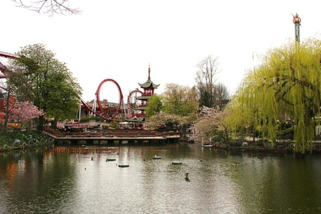 A beautiful view over the water at Tivoli Gardens.