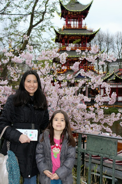 Mia and I in front of one of the beautiful cherry blossom trees at the park.