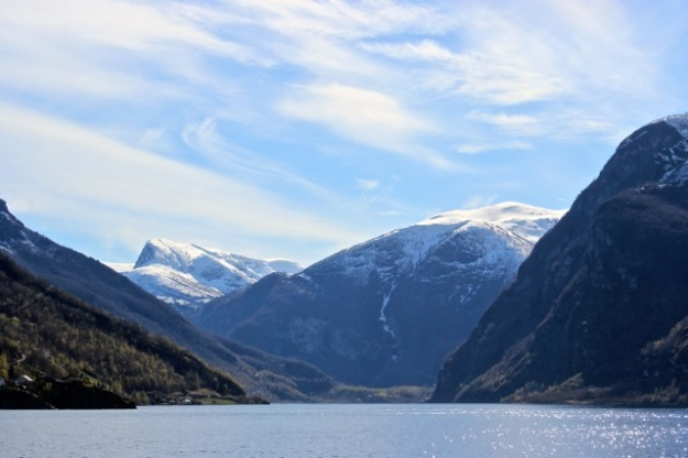 The amazing view as we were leaving Flåm!