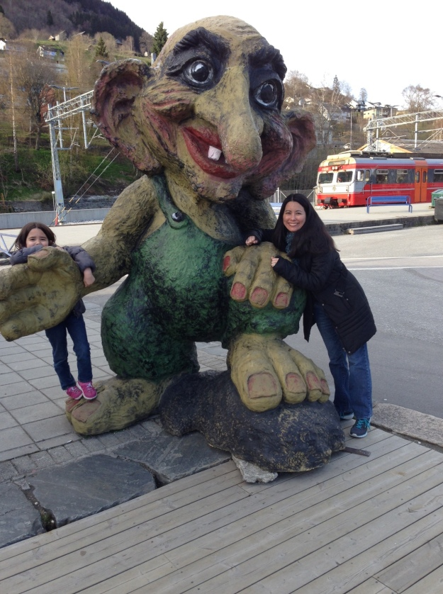 Mia and I with this huge troll in Voss, Norway.