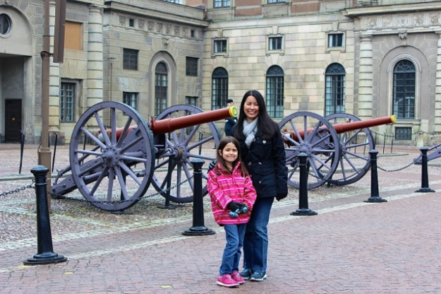 Mia and I in front of the cannons at The Royal Palace.