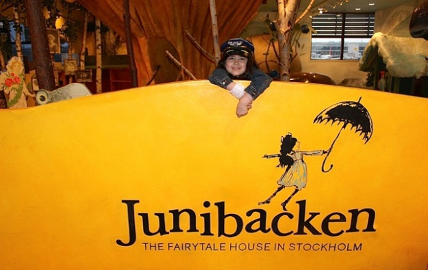 Mia having fun at the display for Junibacken at the Stockholm Airport.