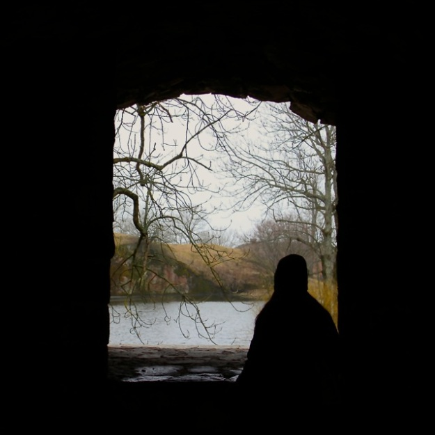 A silhouette from a very cold and dreary day at the Suomenlinna Sea Fortress in Finland.