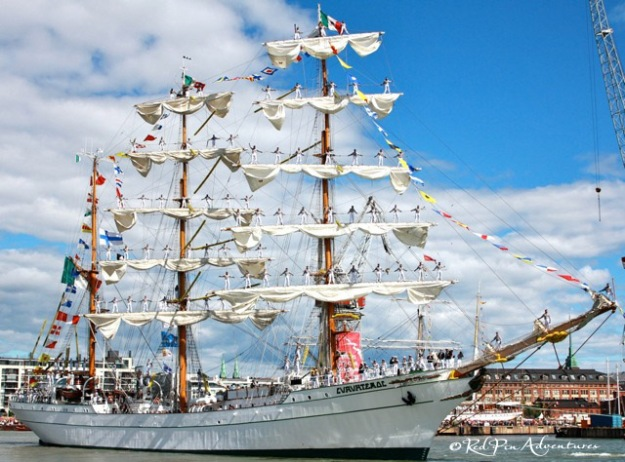 "One of the most amazing things I have seen ""afloat"": The Mexican Navy Tall Ship, Cuauhtémoc at The Tall Ships Races in Helsinki, Finland."