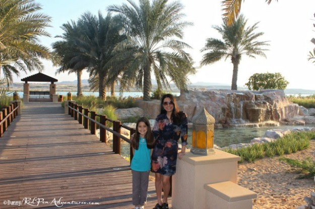 Mia and I at the beautiful entrance to the Desert Islands Resort.