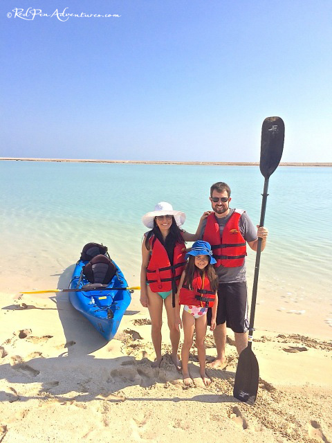 Our family at a sandbar getting ready to explore the mangroves on the island.