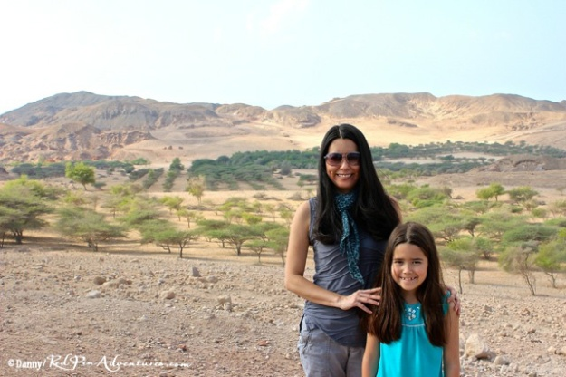 Mia and I in front of the beautiful landscape at a stop on our safari.