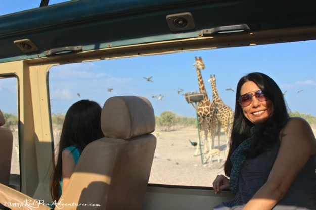 Mia and I in the game viewer vehicle with a view of the beautiful giraffe.