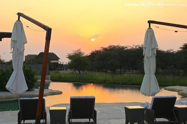 A stunning sunset at the Al Sahel Resort pool.