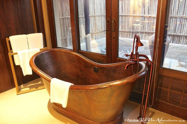 The beautiful copper tub at our villa at the Al Sahel Resort.