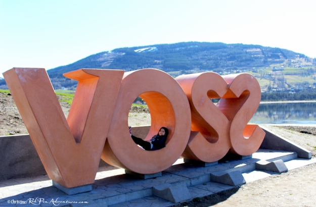 Mia enjoyed lounging in these life-sized letters displayed in front of a stunning landscape in Voss, Norway.