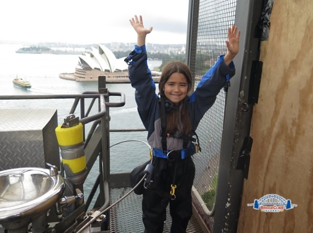 Mia on our climb to the summit of the Sydney Harbour Bridge!