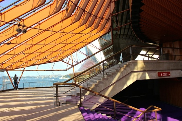 A view of the Northern Foyer inside the Sydney Opera House with its distinctive purple carpet.