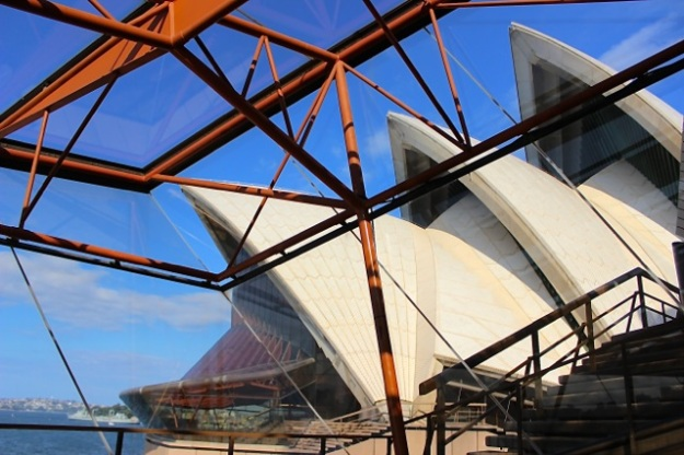 This is a view from inside one of the Sydney Opera House shells with a view of more of the other shells.