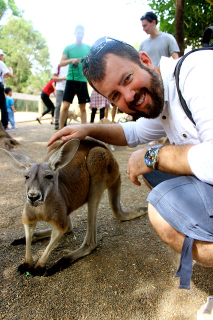 Danny with one of the friendly kangaroos at the park.