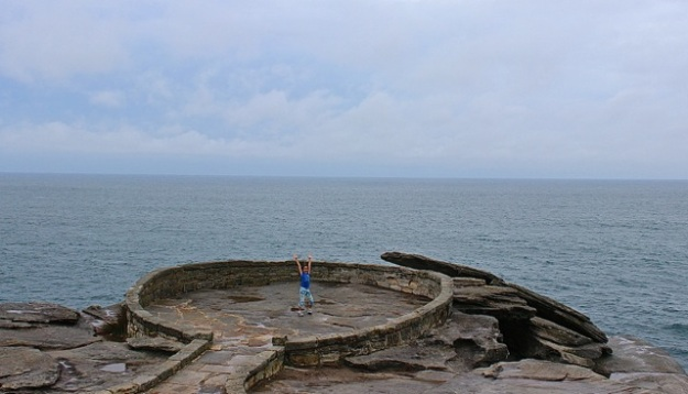 Mia loved this cool circular stone walkway close to Bondi Beach.